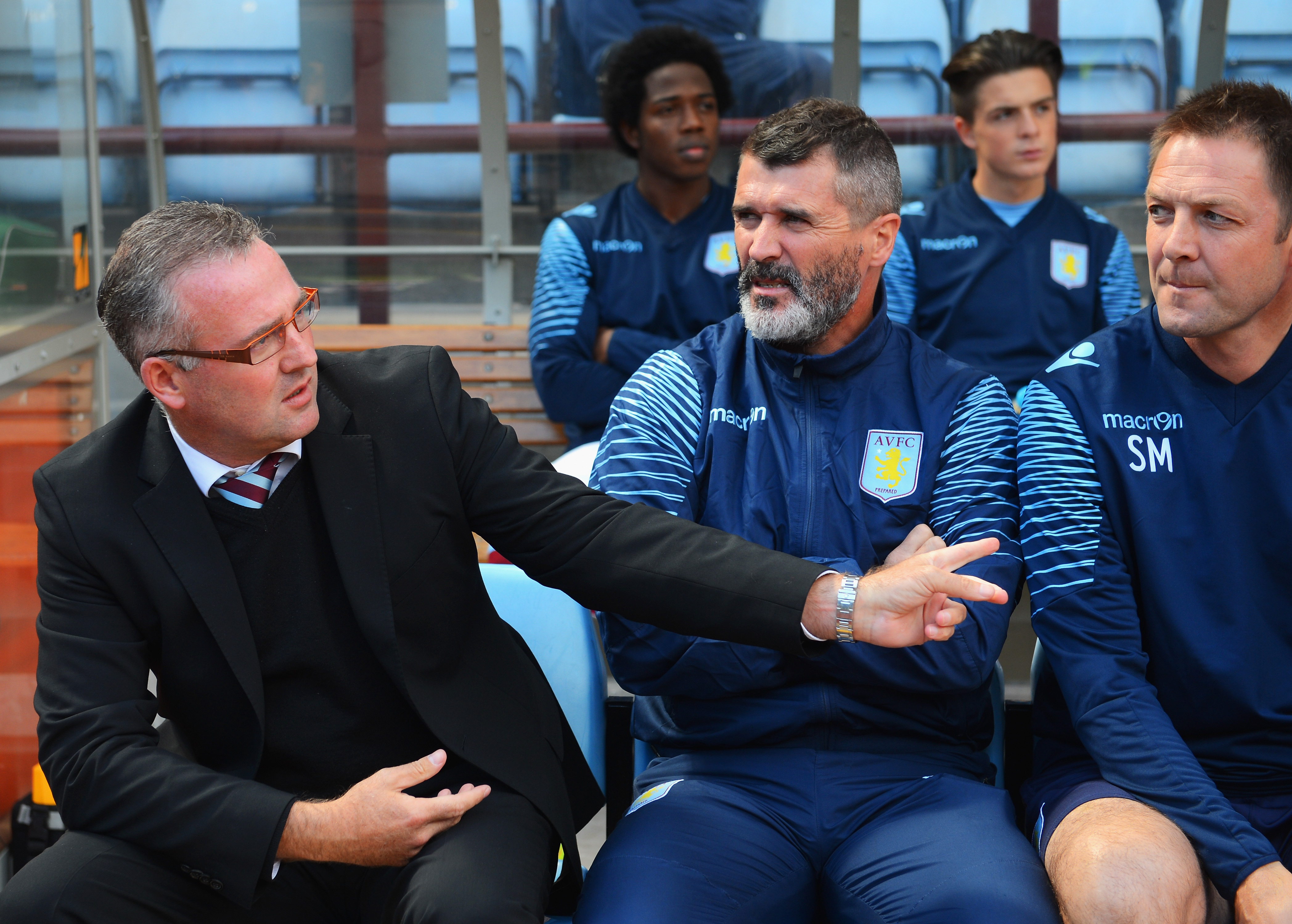 Paul Lambert (left) on the Aston Villa bench