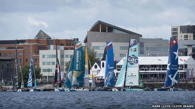 Extreme sailing in Cardiff Bay
