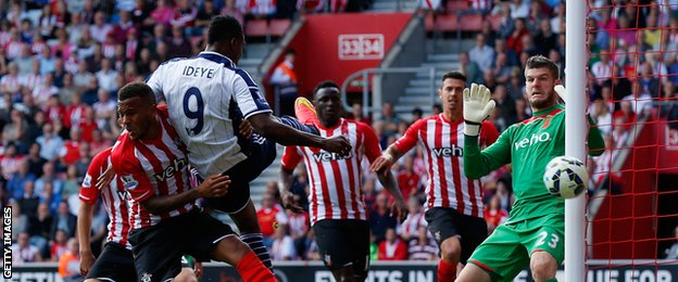Brown Ideye of West Brom heads the ball wide of the goal