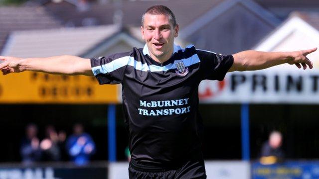 Matthew Tipton celebrates scoring for Ballymena United