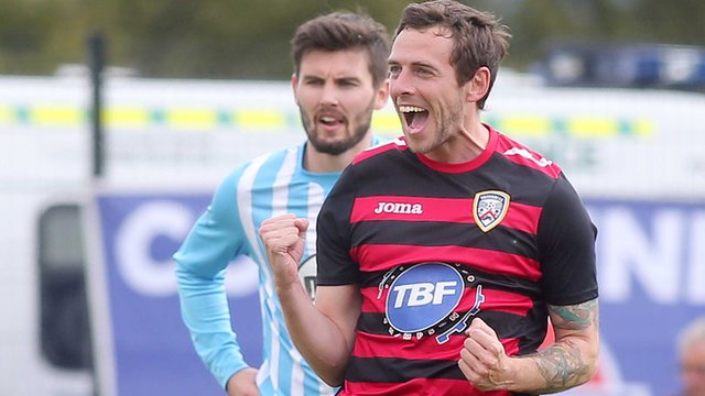 Gary Browne celebrates his goal for Coleraine