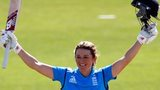 England Women captain Charlotte Edwards celebrates her century