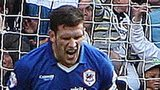 Mark Hudson screams after his own goal