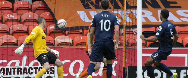 Jake Jervis scores for Ross County against Dundee United