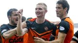 Dundee United players celebrating