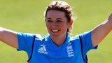 England Women captain Charlotte Edwards celebrates her century