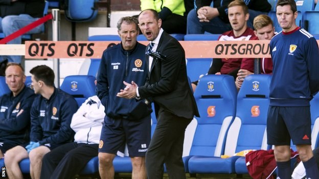 Kilmarnock manager Allan Johnston urges his side on as they defeat Motherwell 2-0
