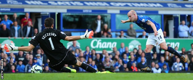 Steven Naismith of Everton scores the second goal during the Premier League match between Everton and Arsenal