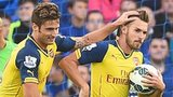 Aaron Ramsey (right) and Olivier Giroud of Arsenal celebrate the former's goal