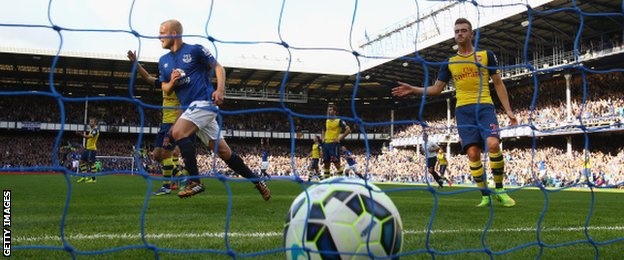 Steven Naismith celebrates scoring for Everton