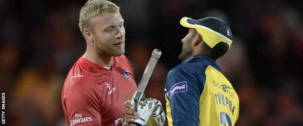 Andrew Flintoff and Varun Chopra