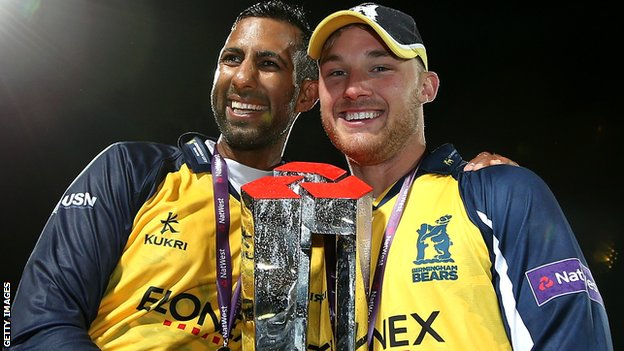 Varun Chopra and man of the match Laurie Evans
