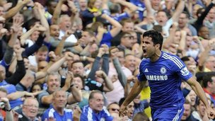 Chelsea's Diego Costa celebrates scoring a goal during the English Premier League soccer match between Chelsea and Leicester City at Stamford Bridge in London