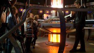 Peter Capaldi meets children on the Tardis set
