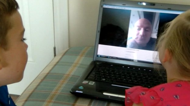 Kristian Nicholson speaks to his family over Skype