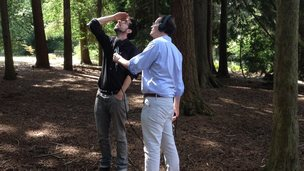 David Sillito with sound artist Daniel Jones at Bedgebury pinetum in Kent