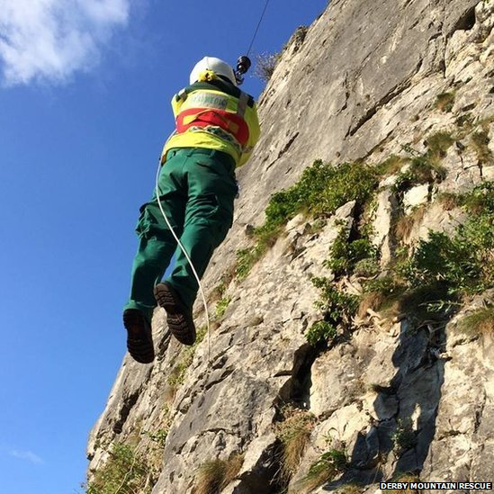 A paramedic was winched down the crag