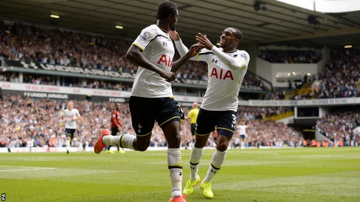 Emmanuel Adebayor celebrates