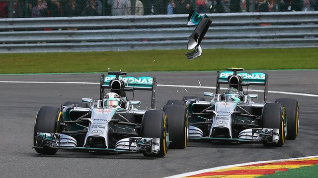 Mercedes' Lewis Hamilton and Nico Rosberg clash at Belgian GP