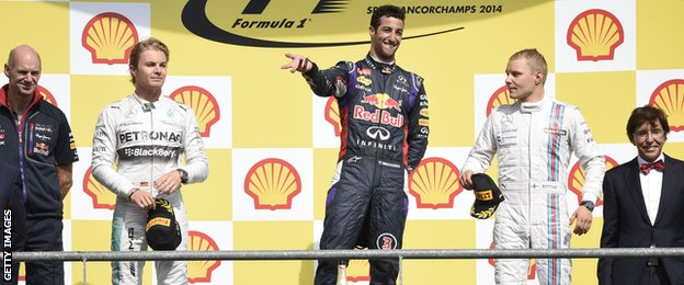 Daniel Ricciardo, Nico Rosberg and Vallteri Bottas