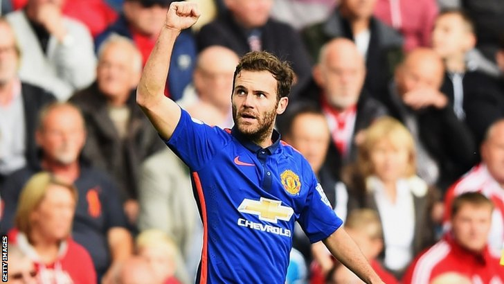 Juan Mata of Manchester United celebrates