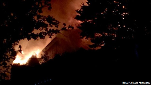 Alexandra Yacht Club, Southend, Essex on fire