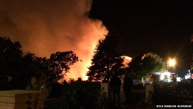 Alexandra Yacht Club, Southend, Essex on fire