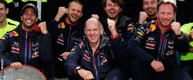 Red Bull team celebrate- Daniel Ricciardo, Adrian Newey and Christian Horner
