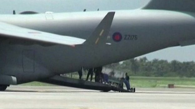 Patient being loaded into the C-17 RAF aircraft