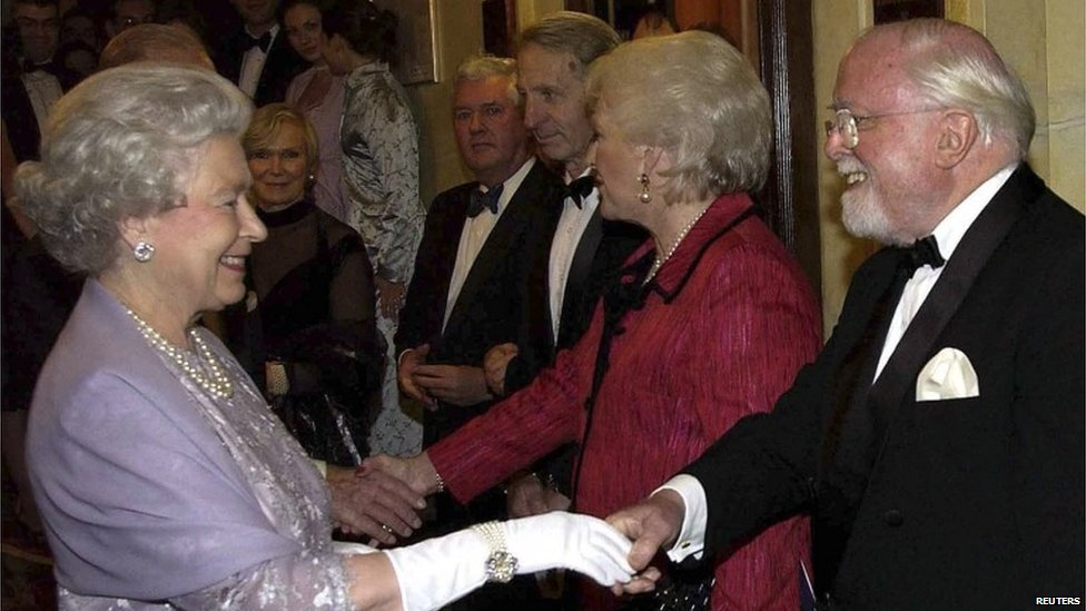 Lord Attenborough meeting the Queen