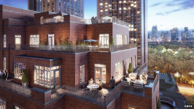 Artists rendering of the penthouse terrace in the Carlton House complex