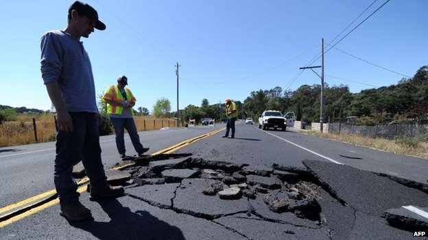 Road damage in Napa, 24 Aug