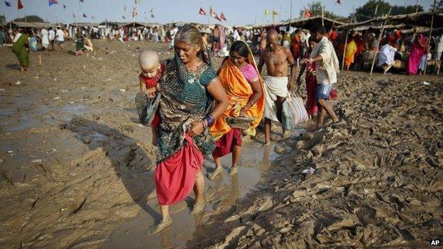File picture of Hindu devotees celebrating Somvati Amavasya in Allahabad, India