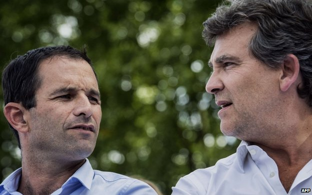 Arnaud Montebourg (R) and Benoit Hamon (24 August)