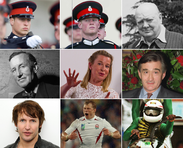 Princes William and Harry, Winston Churchill, Ian Fleming, Katie Hopkins, Antony Beevor, James Blunt, Josh Lewsey, Devon Harris