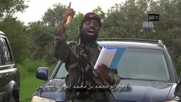 A screengrab taken on August 24, 2014 from a video released by the Nigerian Islamist extremist group Boko Haram and obtained by AFP shows the leader of the Nigerian Islamist extremist group Boko Haram, Abubakar Shekau, delivering a speech at an undisclosed location.