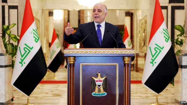 Iraqi PM-designate Haider al-Abadi at a press conference in Baghdad on 25 August 2014