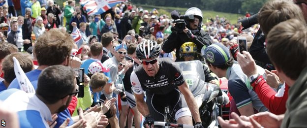Jens Voigt on stage one of the 2014 Tour de France in Yorkshire