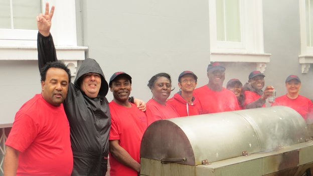Bonito Coleman (fourth from right) and the members at his food stall