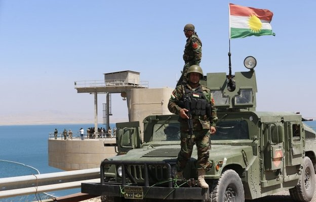 Iraqi Kurdish Peshmerga fighters at the Mosul dam (21 August 2014)