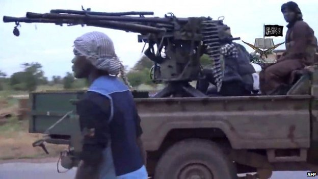 Screen grab from Boko Haram video showing fighters