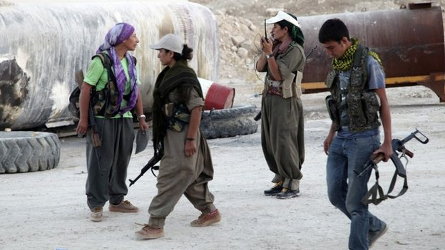 Kurdistan Workers' Party (PKK) fighters in Makhmour (9 August 2014)