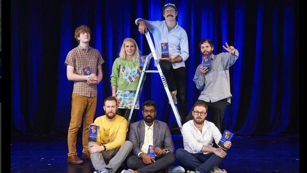The nominees James Acaster, Alex Horne, Sara Pascoe, Liam Williams, Romesh Ranganathan, Sam Simmons and winner John Kearns