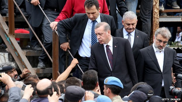 Recep Tayyip Erdogan visits Soma in May 2014