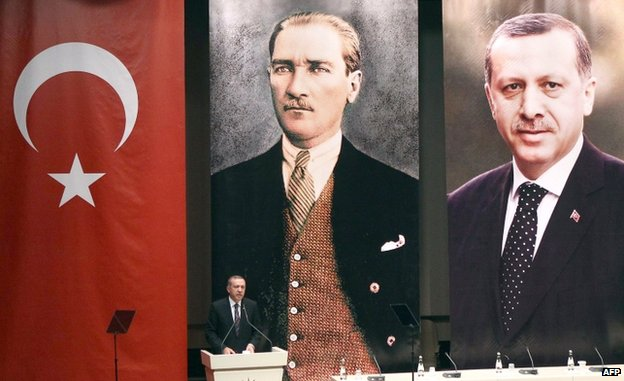 Erdogan addresses AK party members on 14 August under posters of himself and Ataturk