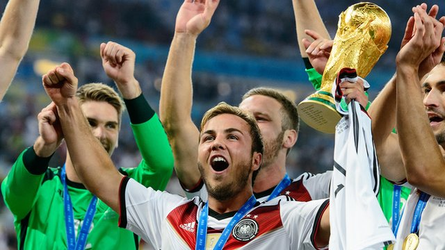 Germany's Mario Gotze celebrates winning the 2014 World Cup