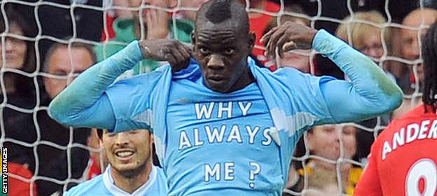 Balotelli unveils his 'Why Always Me?' t-shirt