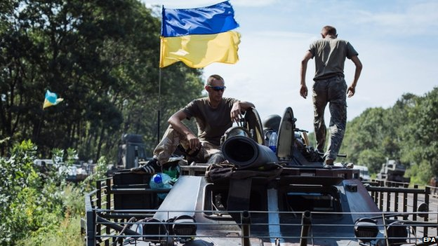 Ukrainian soldiers in Rozsypne, Donetsk region. Photo: 25 August 2014