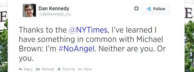 A criticism of the New York Times posted on Twitter.