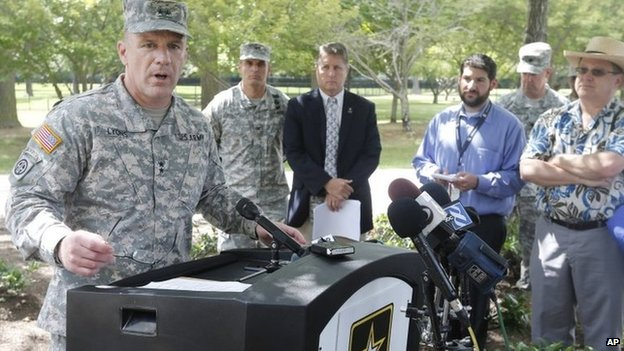 Army Major General Stephen Lyons speaks during a news conference at the base in Fort Lee, Virginia 25 August 2014